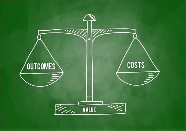 Image of scale explaining that value is a balance of outcomes and costs as part of overall discussion of health reform in the United States.